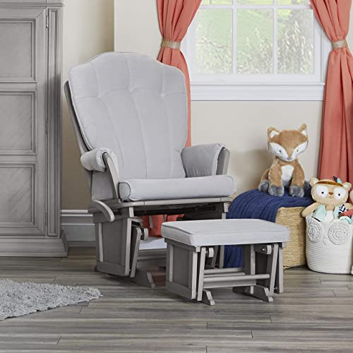 Suite Bebe Victoria Glider and Ottoman in Gray and Light Gray - Quick Ship