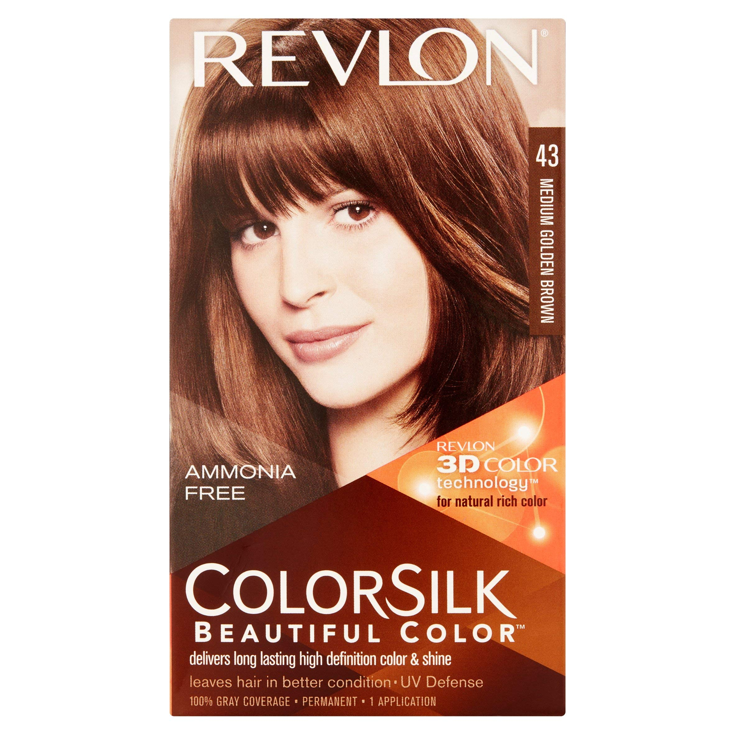 Revlon ColorSilk Hair Color [43] Medium Golden Brown 1 ea (Pack of 8) by Revlon