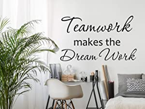 Quote Teamwork Makes The Dream Work Wall Decal, Teamwork Office Sign Decor, Decoration for Office, Teamwork Sticker 40inch