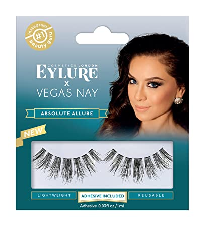 d07acadc9d1 Eylure Vegas Nay Absolute Allure False Eyelashes, Reusable, Adhesive  Included, 1 Pair,