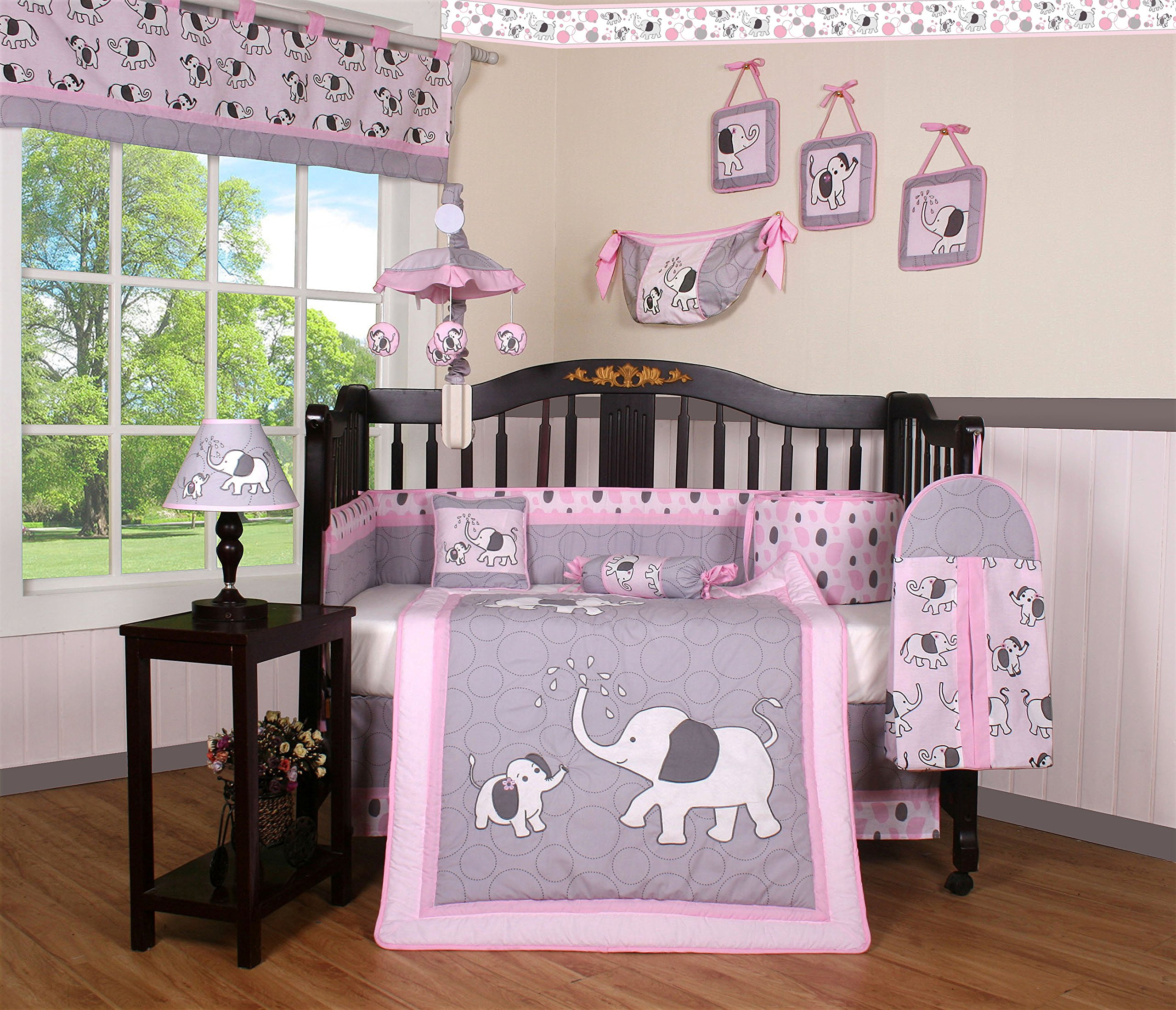 Boutique Baby Pink Gray Elephant 14 Pieces Nursery Crib Bedding Sets - Including Musical Mobile
