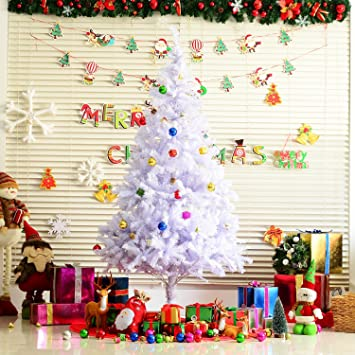 cf5f294c3702 HOMCOM 6.9ft Fireproof Artificial Christmas Tree Xmas Holidays Decorations  with Ornament - White: Amazon.ca: Home & Kitchen