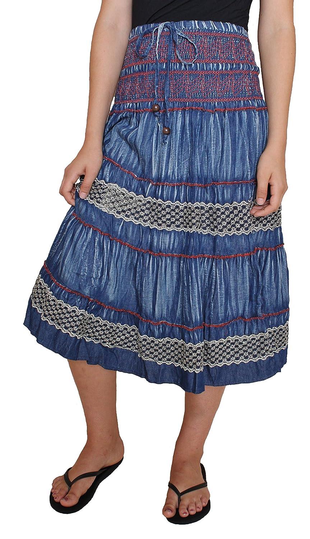 #216260 Sacred Threads Tiered Denim Skirt