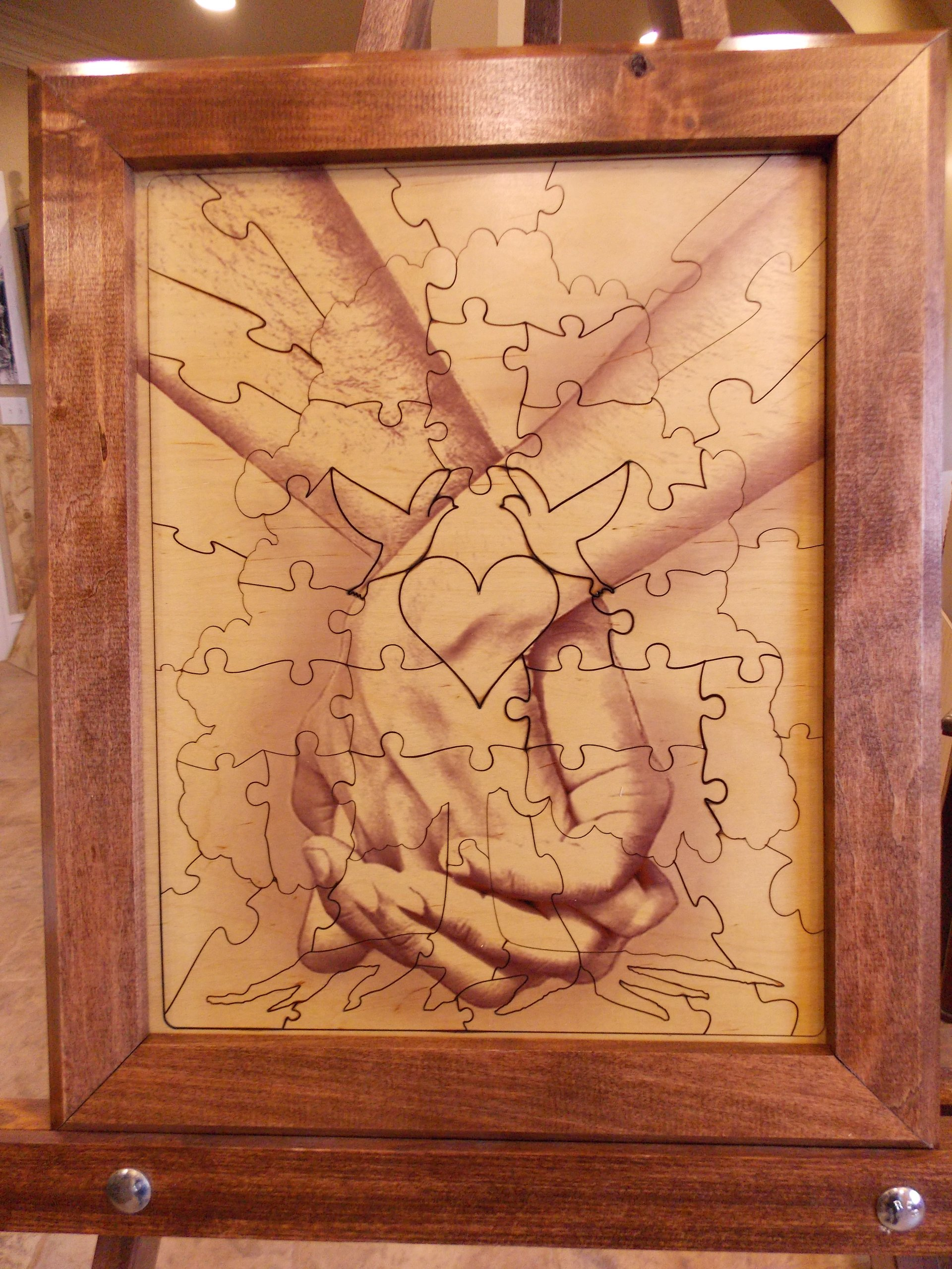 Wedding Guest Book Alternative Wood Puzzle ''Together Forever Tree Hand In Hand'' 14x17 Small 50 Piece by Together Forever Puzzle