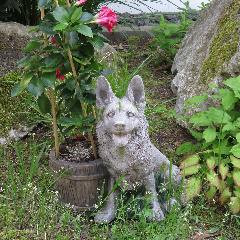 Unibest Deko Hund Sch/äferhund Stein-Optik Gartenfigur Skulptur aus Magnesium-Oxid