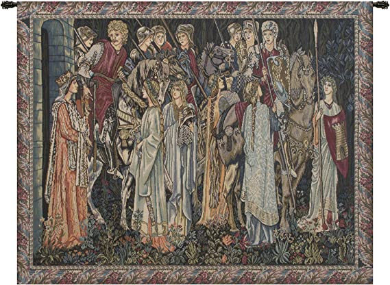 Group of Knights Quest for the Holy Grail Tapestry Wall Hanging