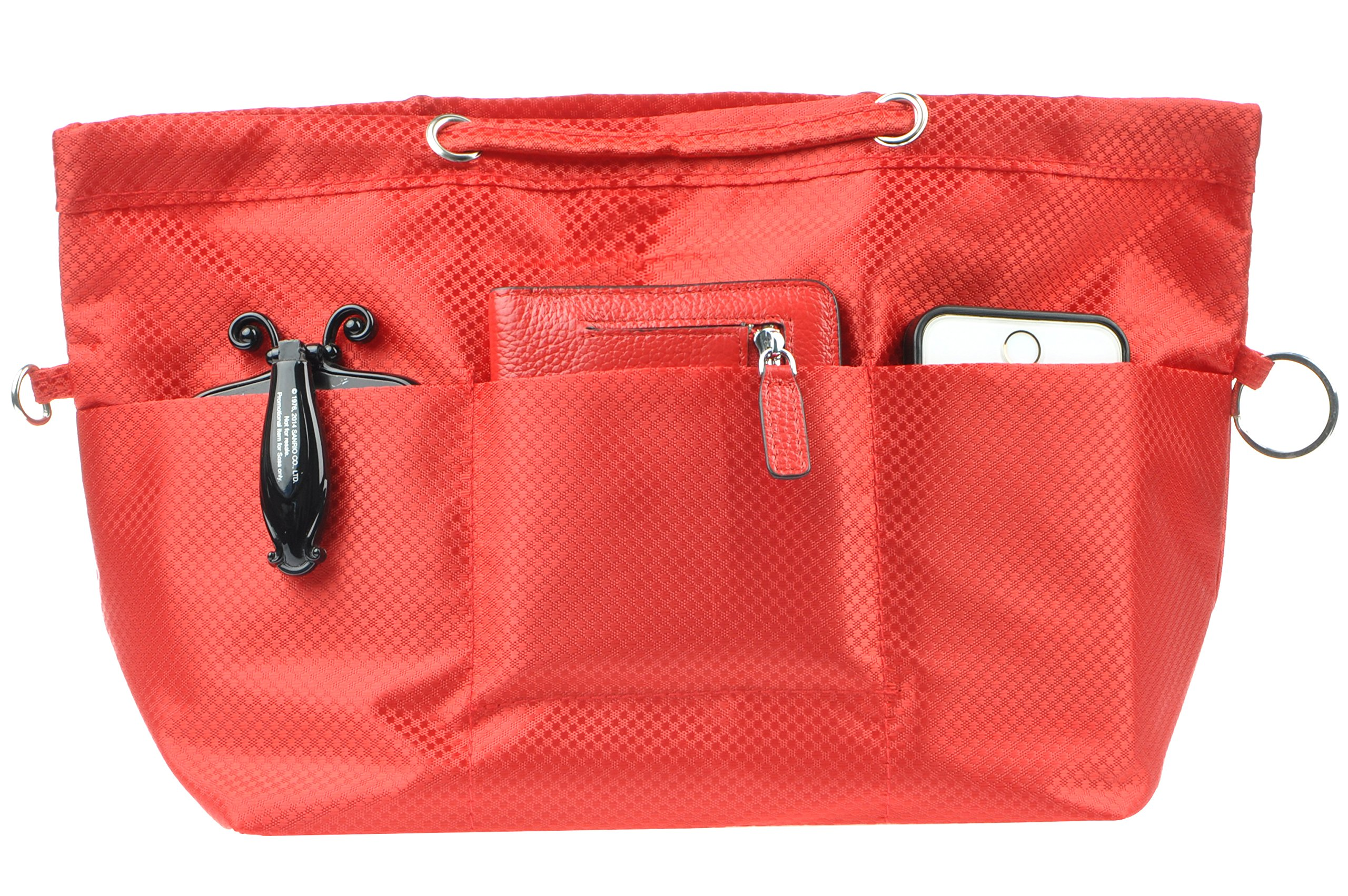 Vercord Oxford Handbag Purse Tote Pocketbook Insert Organizer With Handle 2 Sizes, Red L