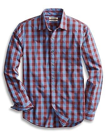 4efe62187ff2 Goodthreads Men's Slim-Fit Long-Sleeve Gingham Plaid Poplin Shirt,  Blue/Burgundy