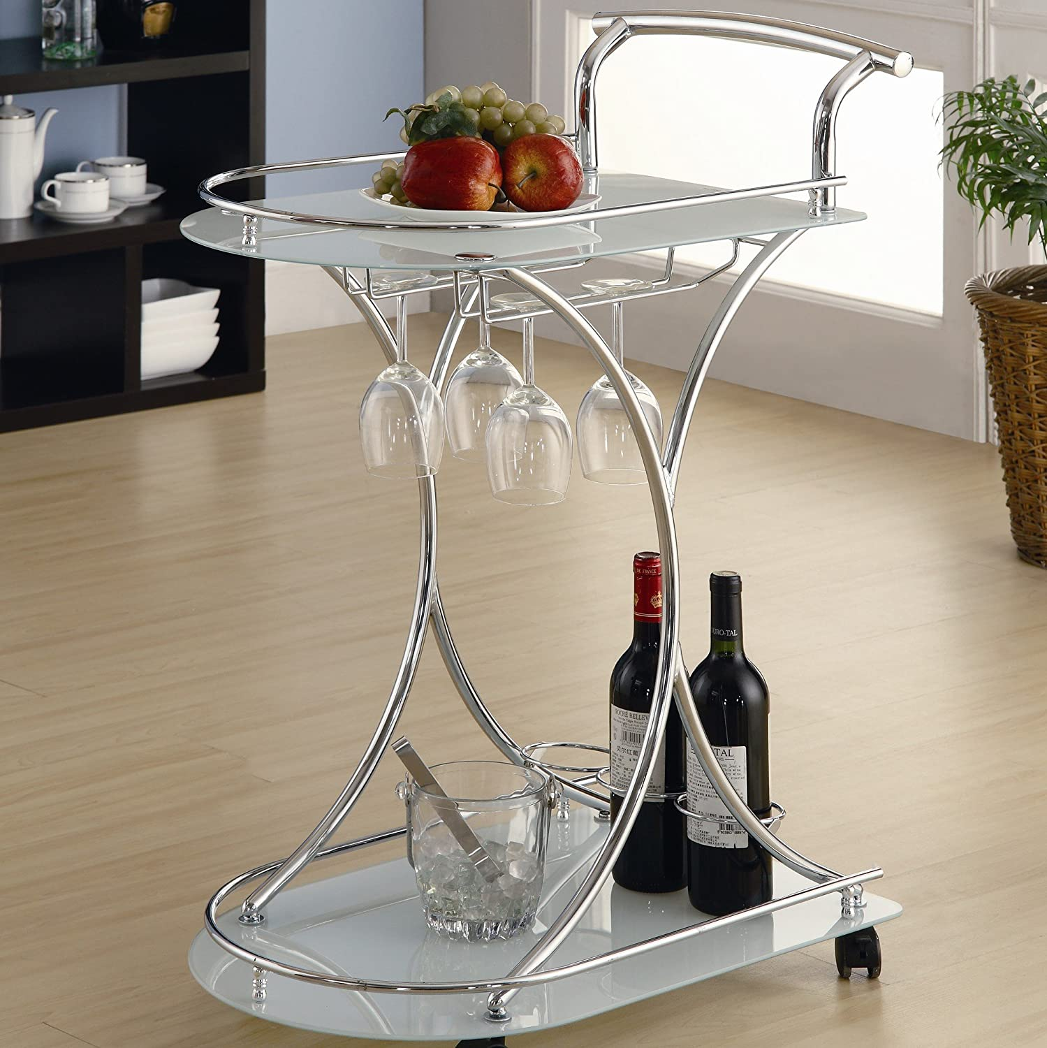 ... Home Whisper Serving Cart Trolley Tea Bar Contemporary Style Two  Frosted Glass Shelves Drink Liquor Rolling Rack Beverage Wine Tray: Kitchen  U0026 Dining