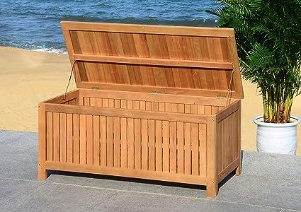 Safavieh PAT7037A Outdoor Collection Abri Teak 47.63u0026quot; Cushion Deck Box,  Natural