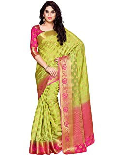 5cef94ce8725a4 Mimosa Women s Silk Saree With Blouse Piece (4152-179-Pgrn-Rni Parrot Green