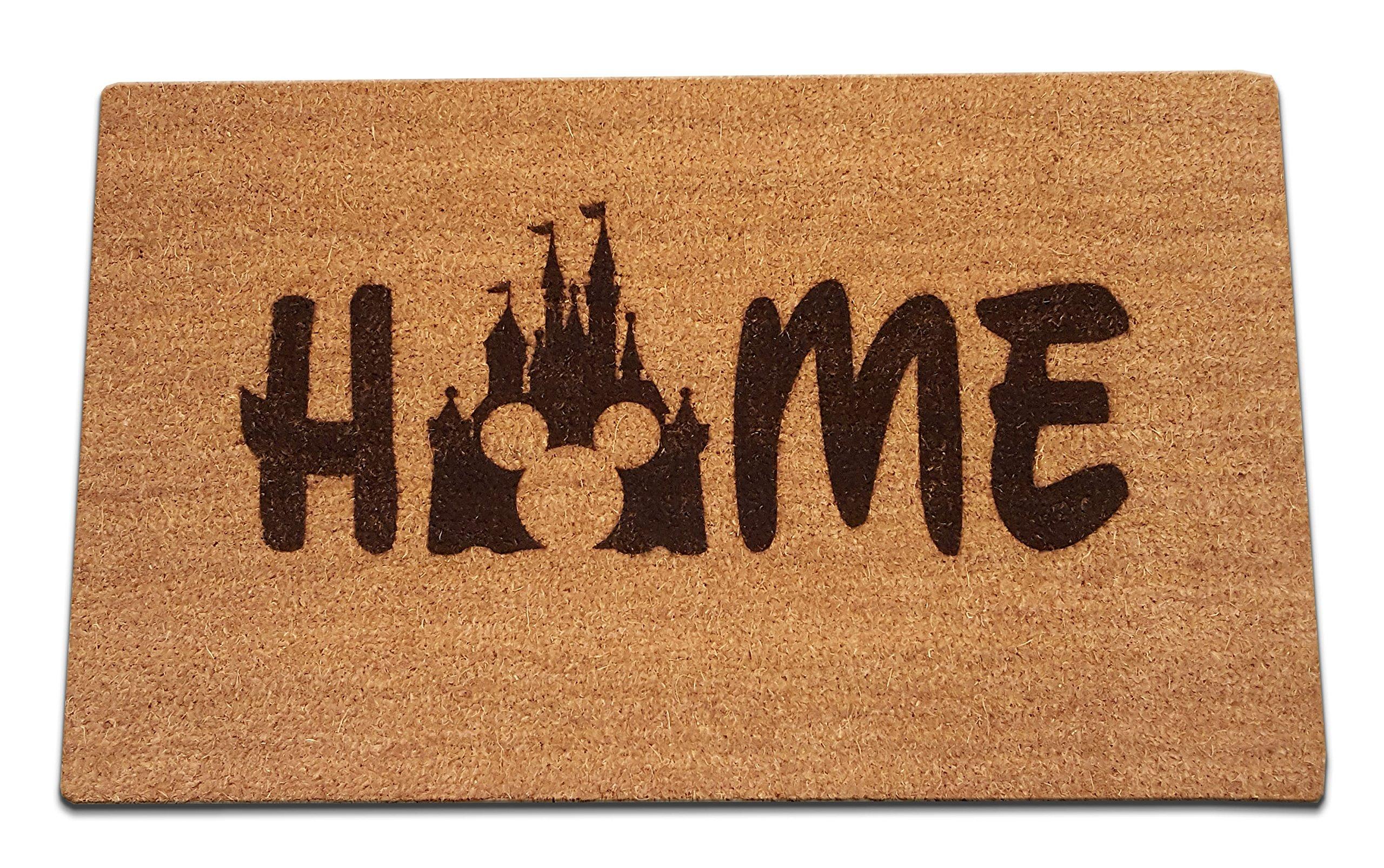 "Disney Mickey Mouse Castle Home Laser Engraved Coir Fiber Welcome Doormat 30"" x 18"""