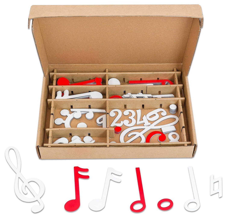 Betzold  84633 - Magnetischer Notensatz weiß/Rot – Musiknoten Lesen Lernen, Musikunterricht, Musiklehre