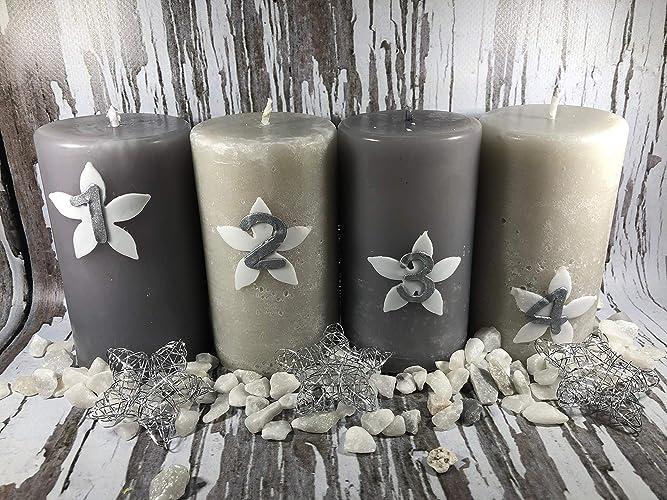 Decorare Candele Di Natale : Le quattro candele dell avvento argento buon natale merry