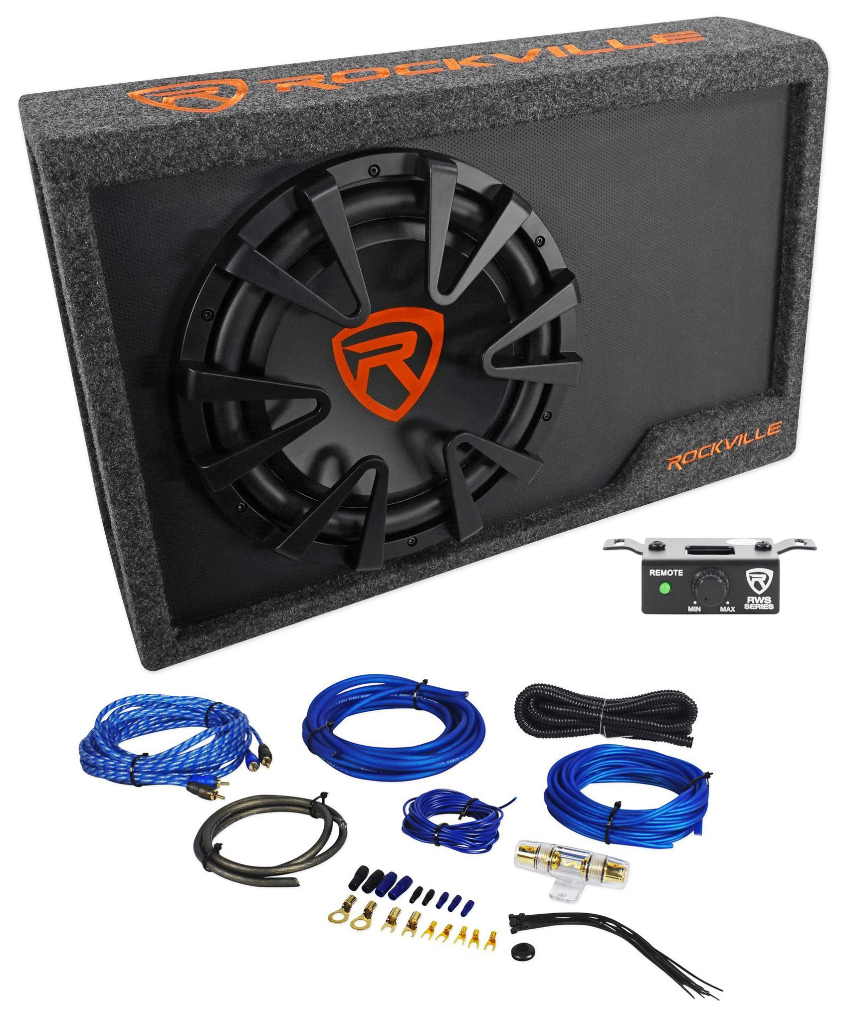 Rockville RWS12CA Slim 1200 Watt 12'' Powered Car Subwoofer Enclosure + Wire Kit