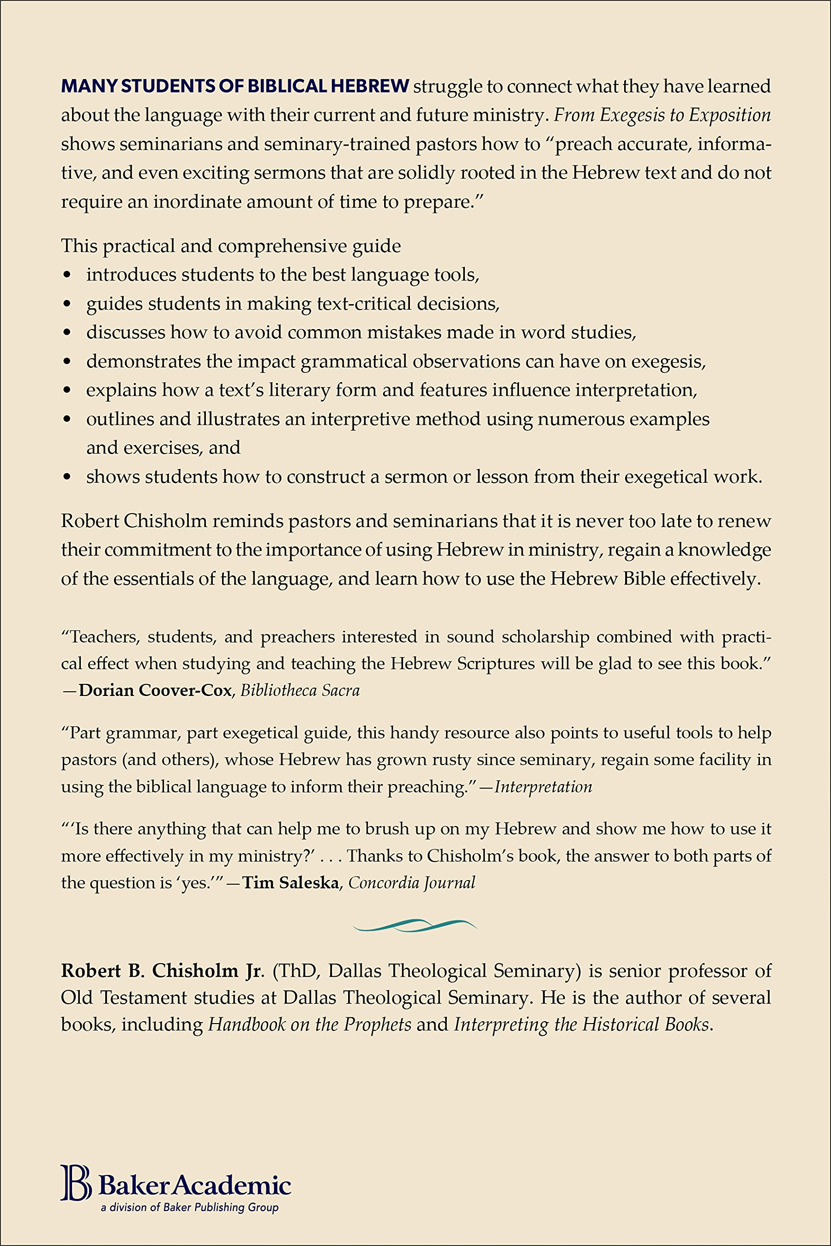 from exegesis to exposition a practical guide to using biblical