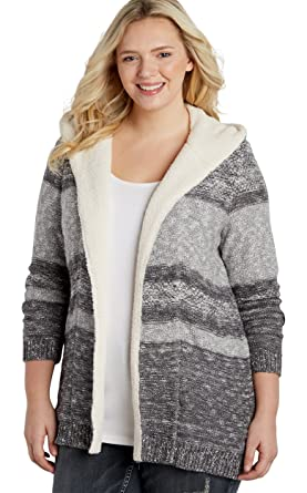 maurices Women's Plus Size Faux Sherpa Lined Hooded Cardigan With ...