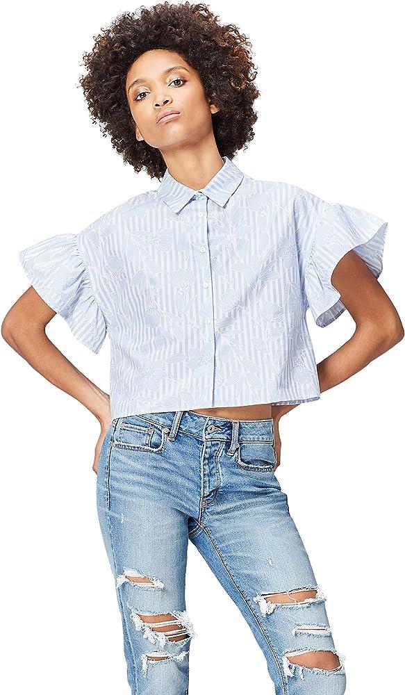 find. Camisa Estampada con Volantes para Mujer , Azul (Blue Stripe), 40 (Talla del Fabricante: Medium): Amazon.es: Ropa y accesorios