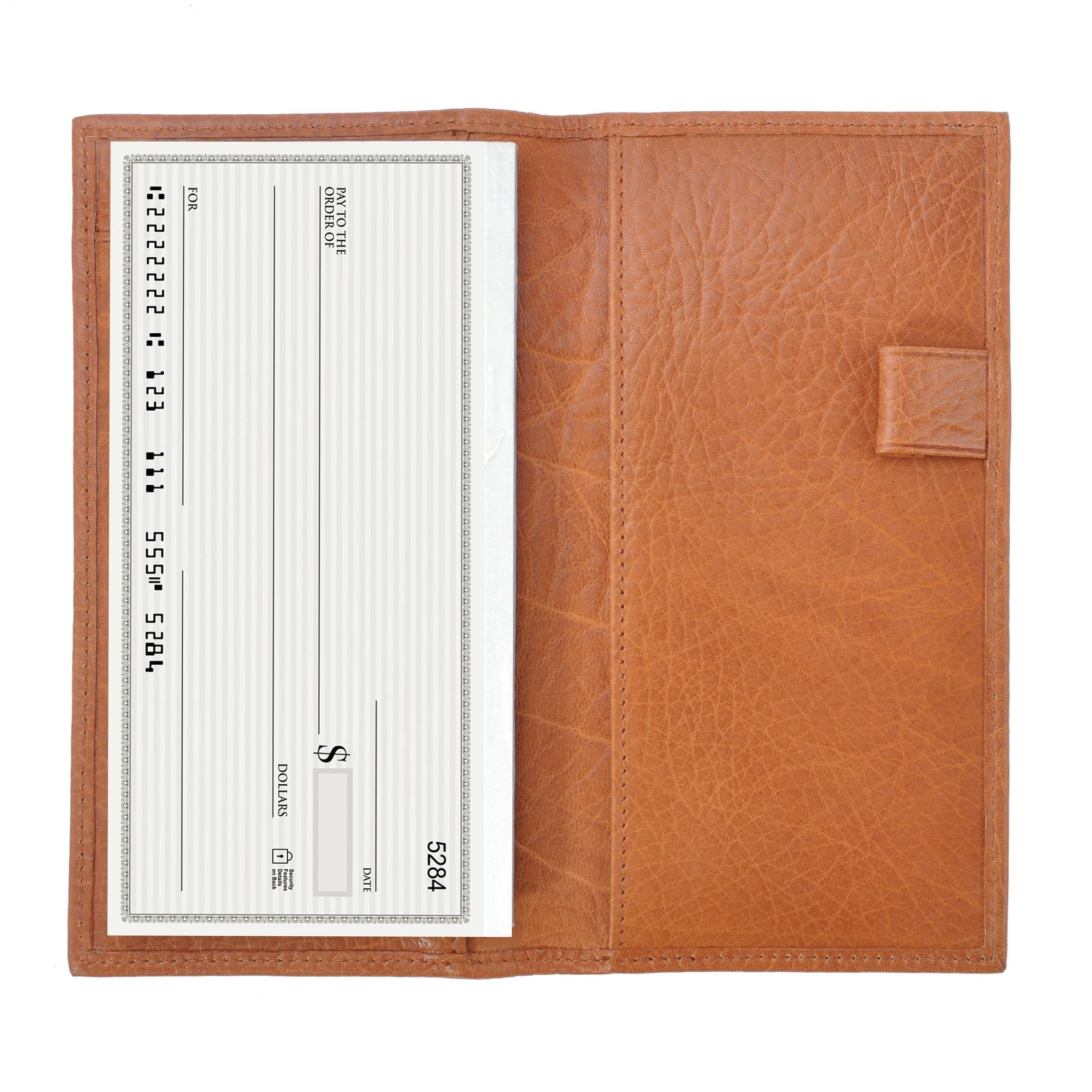 Deluxe Checkbook Cover with Divider - Italian Leather - Whiskey (brown)