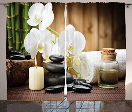 Amazon.com: Spa Decor Curtains by Ambesonne, Asian Spa Style ...