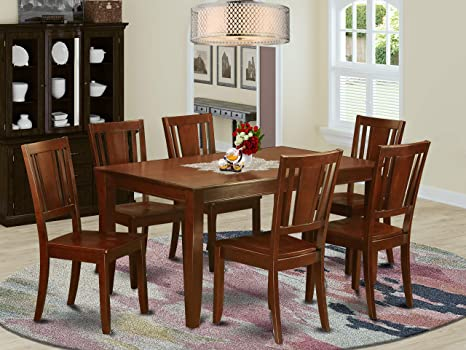Amazon Com East West Furniture Dudl7 Mah W 7 Piece Dining Table Set With Wood Seat Furniture Decor