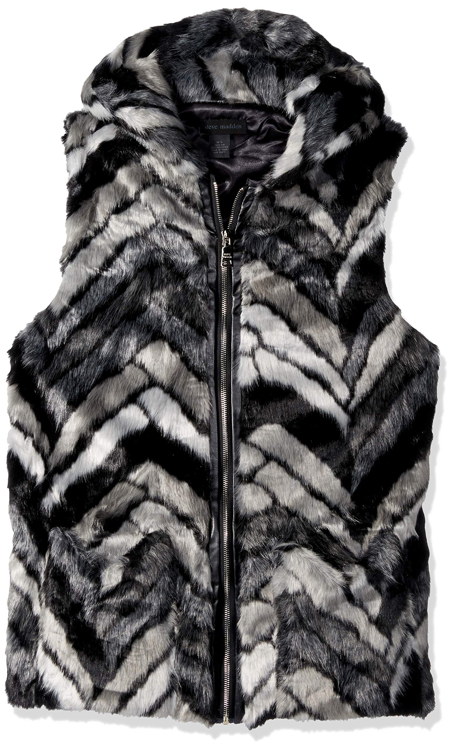 Steve Madden Women's Chevron Faux Fur Zip Hood Vest, black/grey M/L
