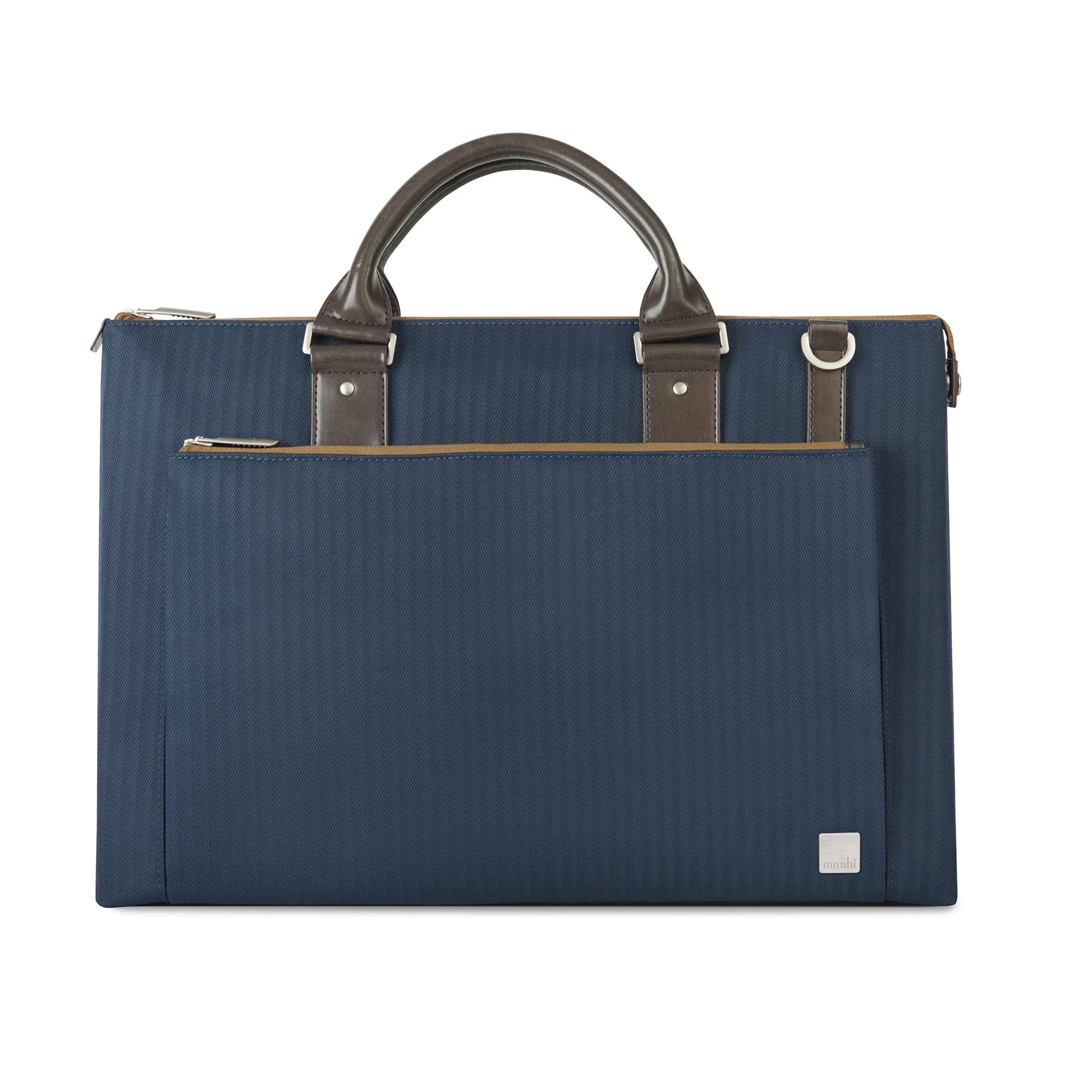 Moshi Urbana Briefcase – Slim Laptop Case with Shoulder Strap, Men Tote, for 13-15'' Laptop ipad- Bahama Blue