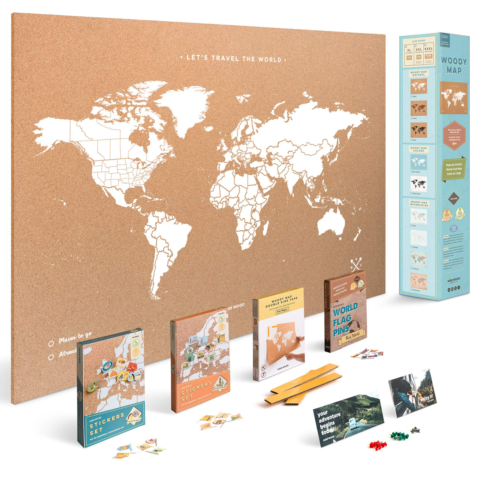 Push Pin Travel Map Kit Includes: Cork World Travel Map, World Flags, Monument and Food Stickers, for Travelers (White, XL (23.6 x 35.4 inches))