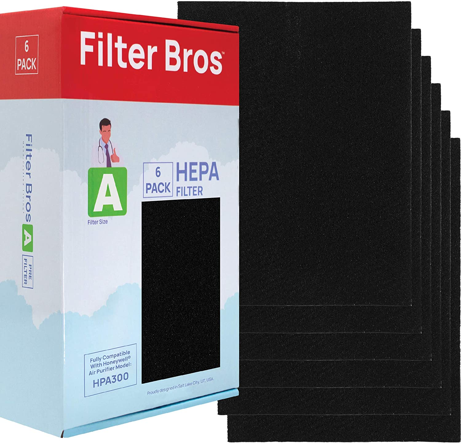 HRF-A300 Honeywell Compatible (6 Pack) Pre Cut Activated Carbon Pre Filter HPA 300 Series Compatible Replacement Pre Filter