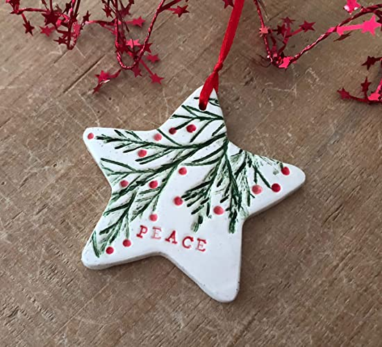 Amazon Com Star Peace Ornament Handmade Ceramic Christmas Tree