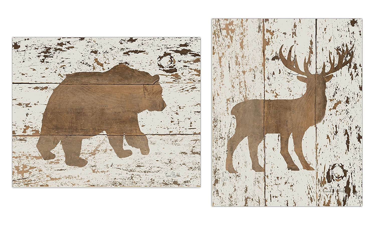 Rustic Cream and Brown Deer and Bear Set; Cabin Lodge Decor; Two 11x14in Unframed Paper Posters (Printed On Paper, Not Wood)