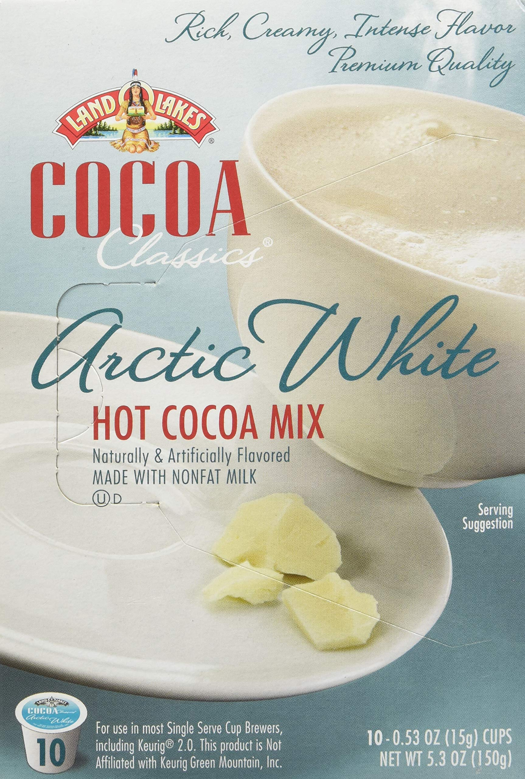 LAND O LAKES Cocoa Single Serve K Cups - Arctic White 10 Cup Box