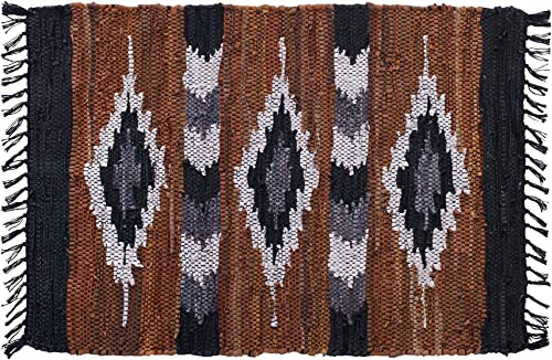 HF by LT Snake River Canyon Handwoven Leather Rug, 24 x 36 inches, Multi-Colored
