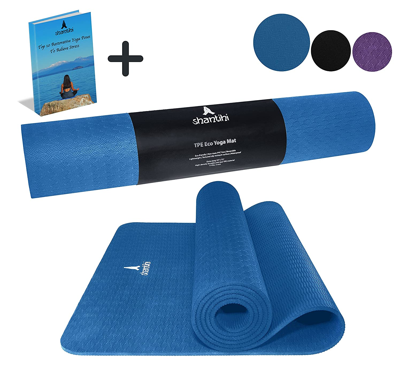 Shantihi Yoga Mat – Thick Eco Friendly Premium TPE Yoga Mat. Non Slip, Reversible, Lightweight, Durable Exercise Pilates Mat. Free Bonus eBook. 72 x24 , 5mm.