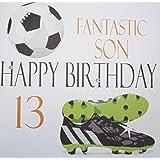 "White Cotton Cards Football ""Fantastic Son Happy Birthday 13"" Handmade 13th Birthday Card"