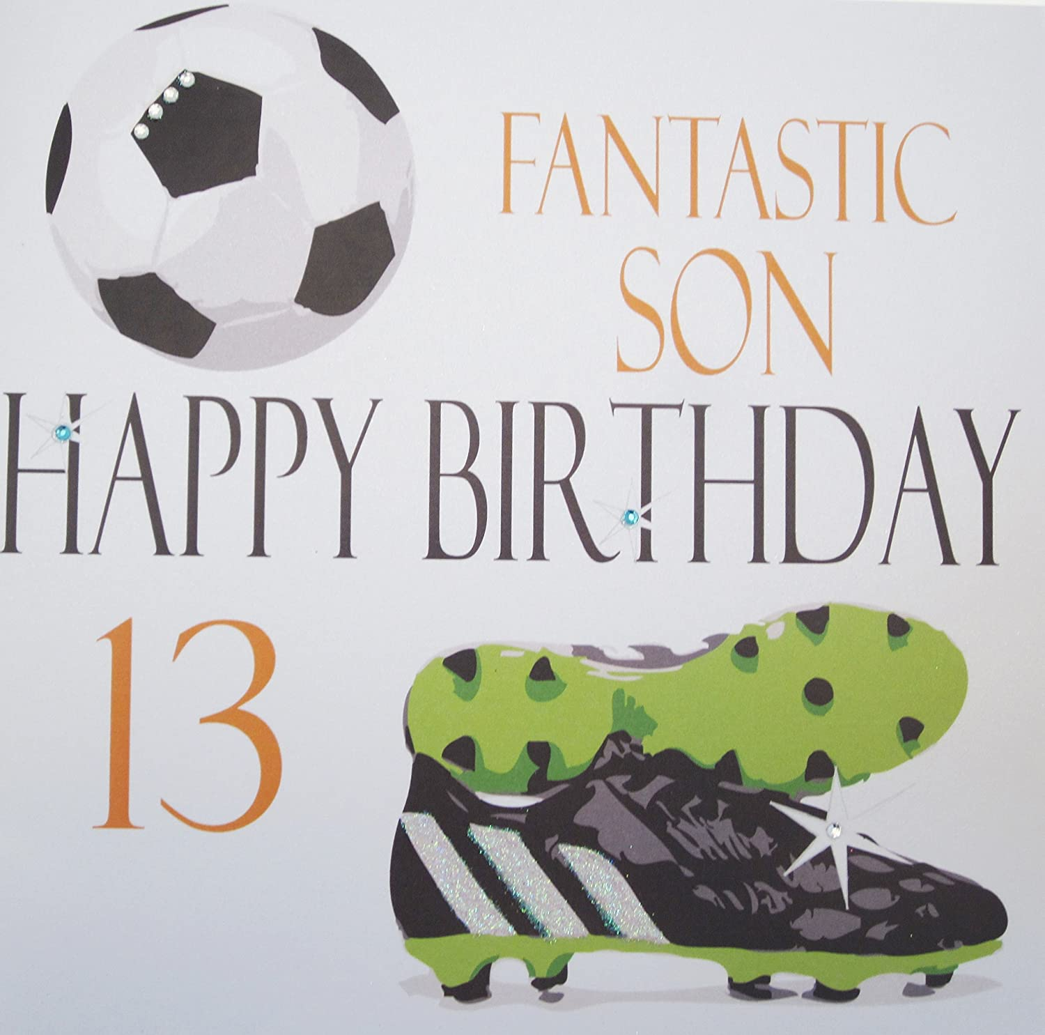 "White Cotton Cards Football ""Fantastic Son Happy Birthday 13"