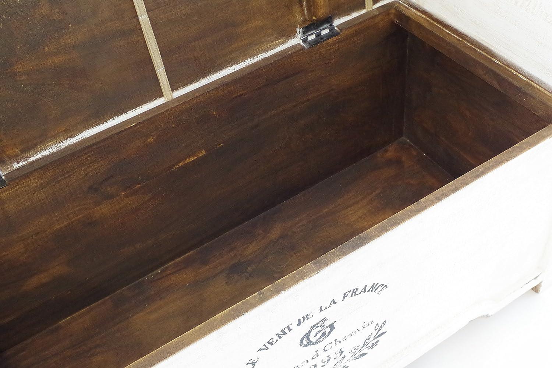 Kobolo Truhenbank Sitzbank Vintage aus Holz wei/ß mit Auflage