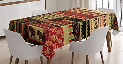 African Tablecloth By Ambesonne, Patchwork Style Asian Pattern With  Elephants And Cultural Ancient Motifs Print