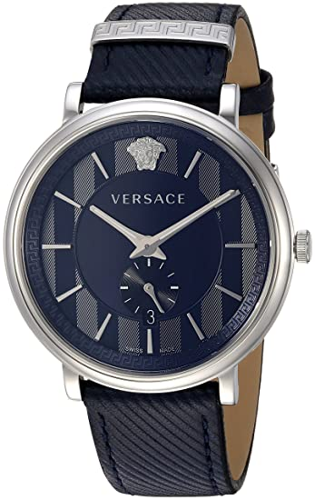 d84b47bec7 Versace Men s  Manifesto Edition  Swiss Quartz Stainless Steel and Leather  Casual Watch