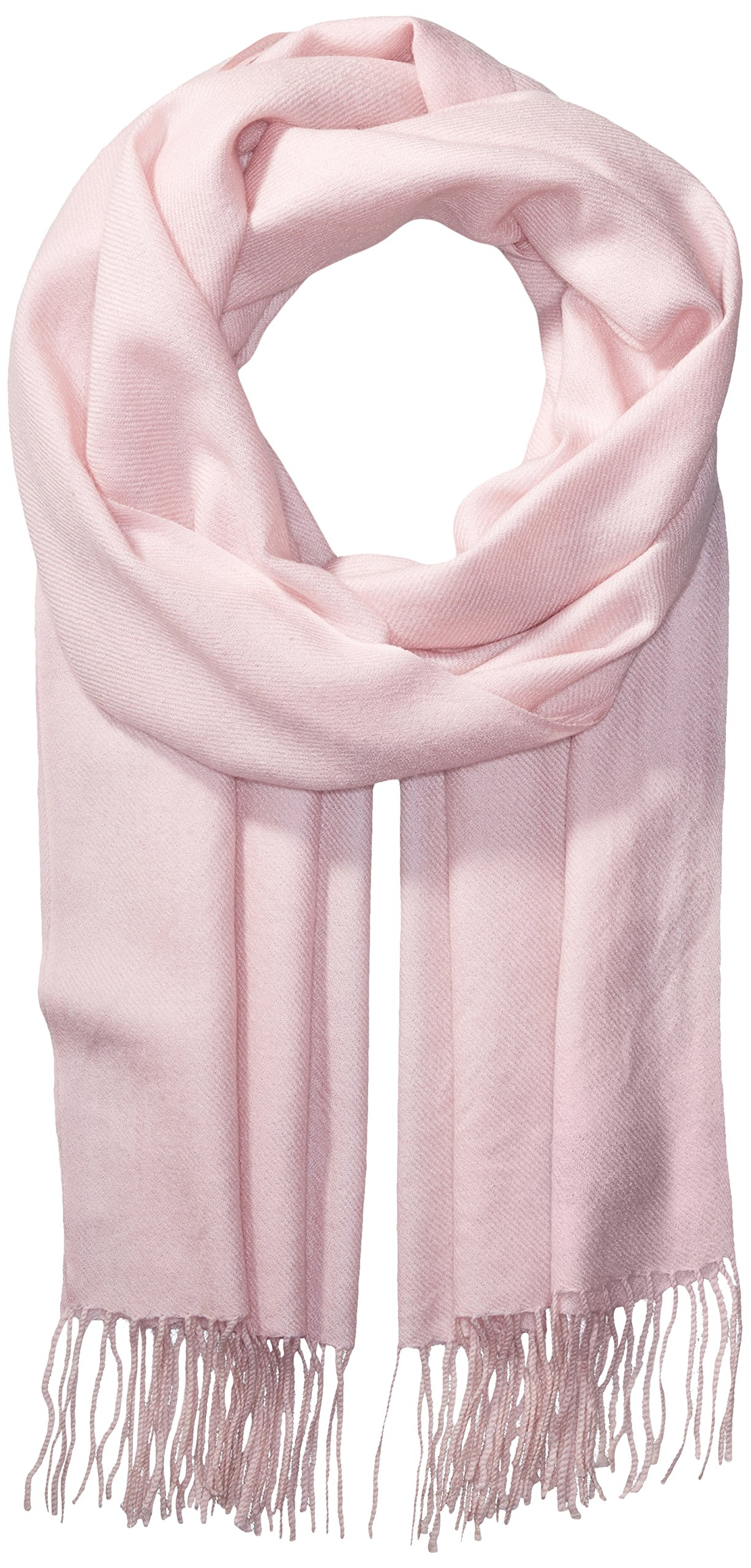 La Fiorentina Women's Soft Twill Cashmere Scarf, Light Pink, One Size