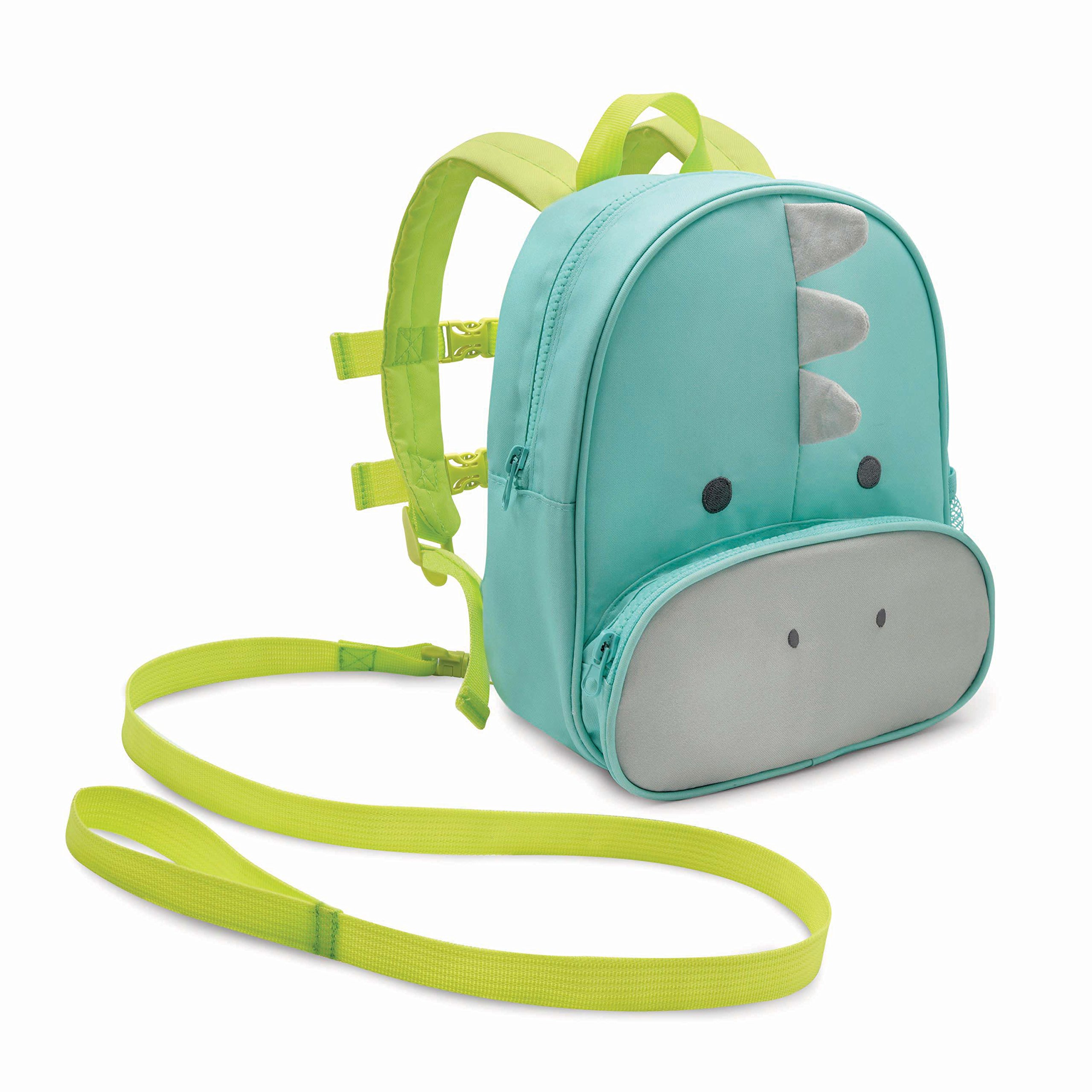 Travel Bug Toddler Safety Dinosaur Backpack Harness with Removable Tether, Teal/Grey