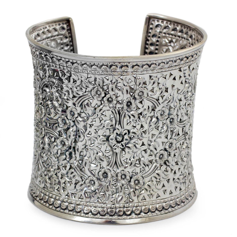 "NOVICA .925 Sterling Silver Cuff Bracelet, 6.25"", 'Dazzling Jasmine'"