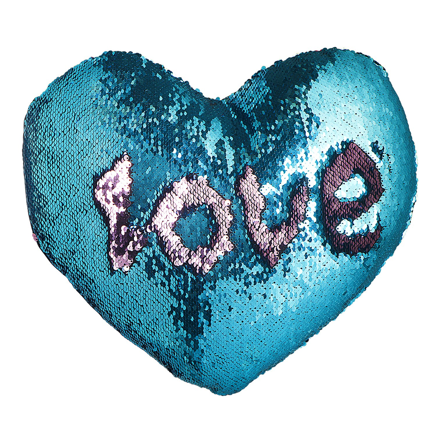 U-miss Mermaid Pillow with Pillow Insert By, Two-color Decorative Heart Shape Reversible Sequin Pillow 13''×15'' (Heart-Shaped, Pink-Blue)