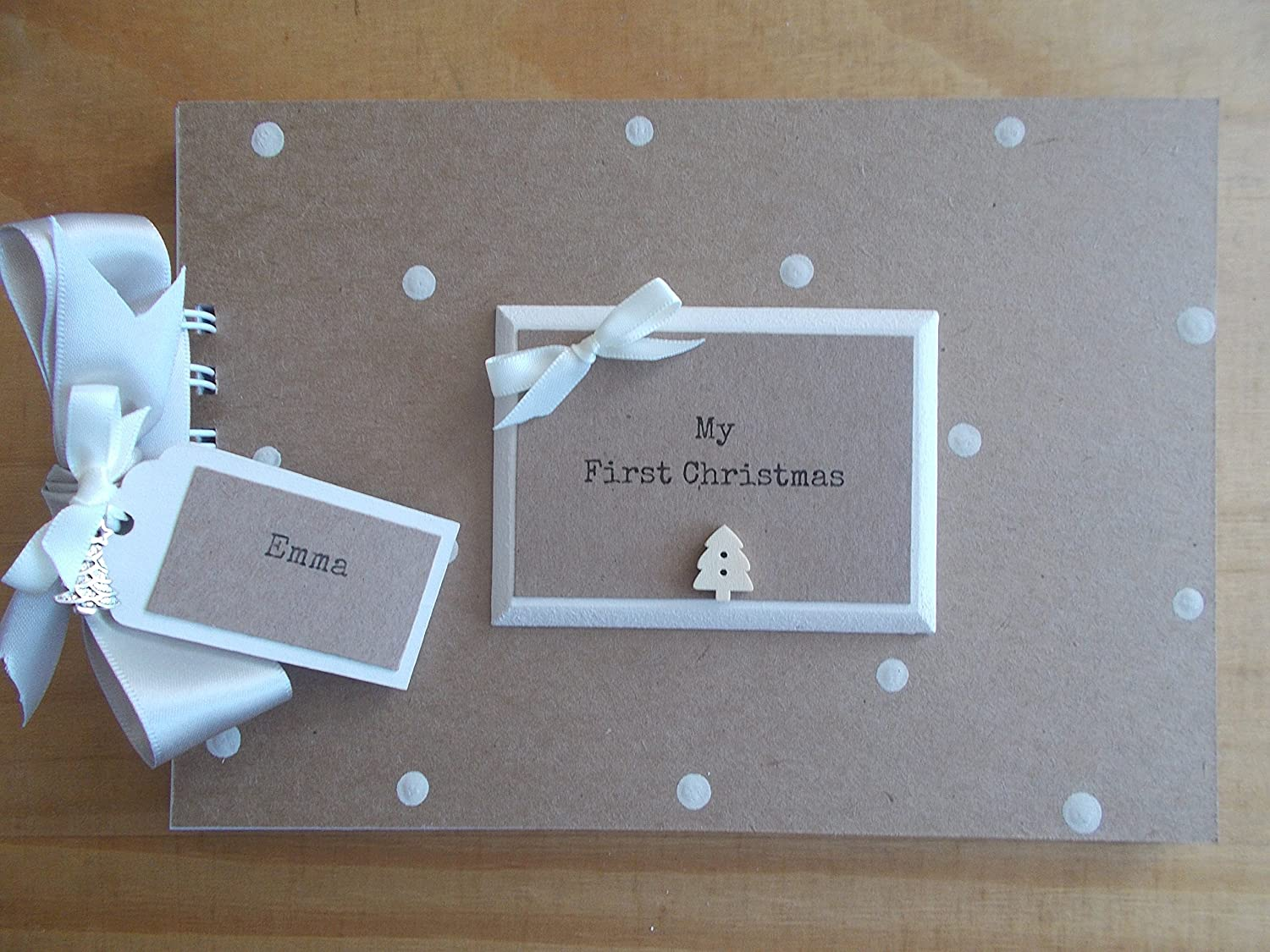 PERSONALISED BABY/'S FIRST//1ST CHRISTMAS PHOTO//ALBUM// MEMORY// RECORD//SCRAPBOOK