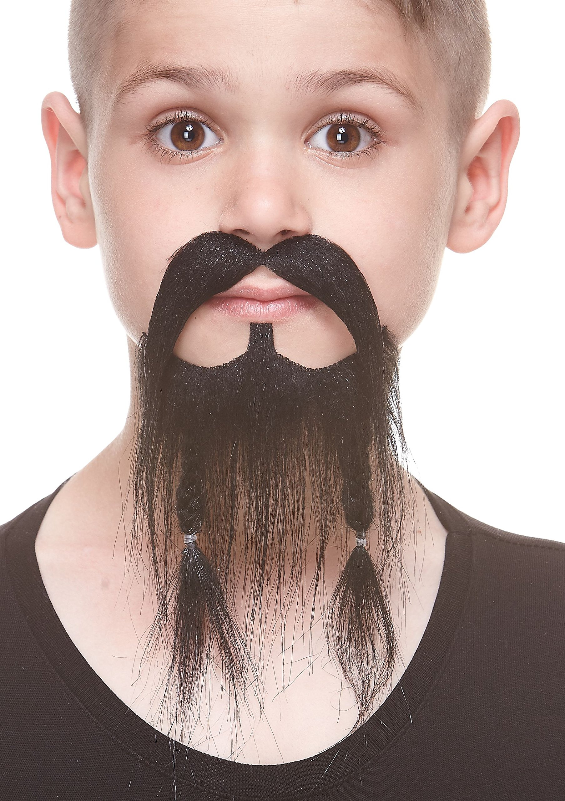 Mustaches Self Adhesive, Novelty, Fake, Small, Braided Pirate Beard, Black Color