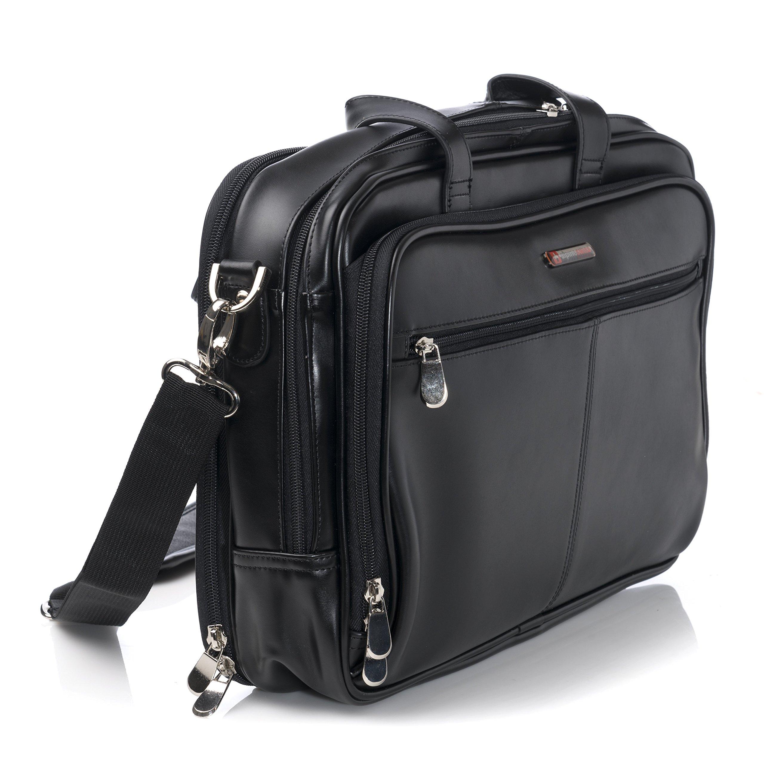 Alpine Swiss Monroe Leather Briefcase Top-Zip Laptop Messenger Bag Black by alpine swiss (Image #5)