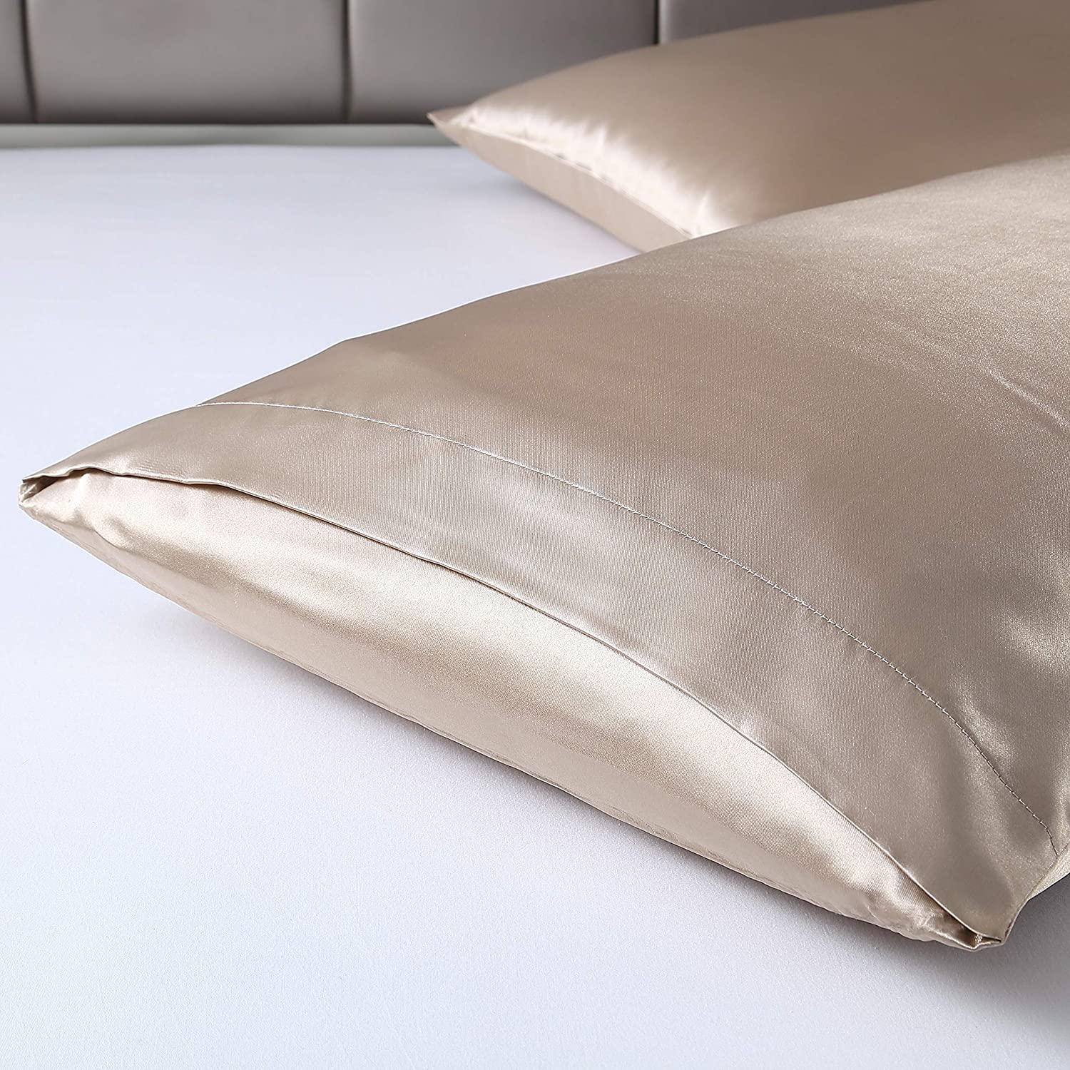 Lovescabin Two-Pack Satin Pillowcases Set for Hair and Skin Standard//Queen Size 20x30 Dark Grey Pillow Case with Envelope Closure Anti Wrinkle,Hypoallergenic,Wash-Resistant