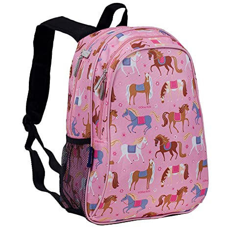 NL Mochila con diseño de caballo negro y rosa para niños, diseño geométrico de caballos