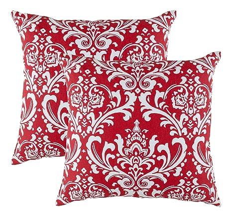 TreeWool Fundas de cojín (2 Unidades, Lona de algodón, 40 x 40 cm), diseño de Damasco, Color Rojo