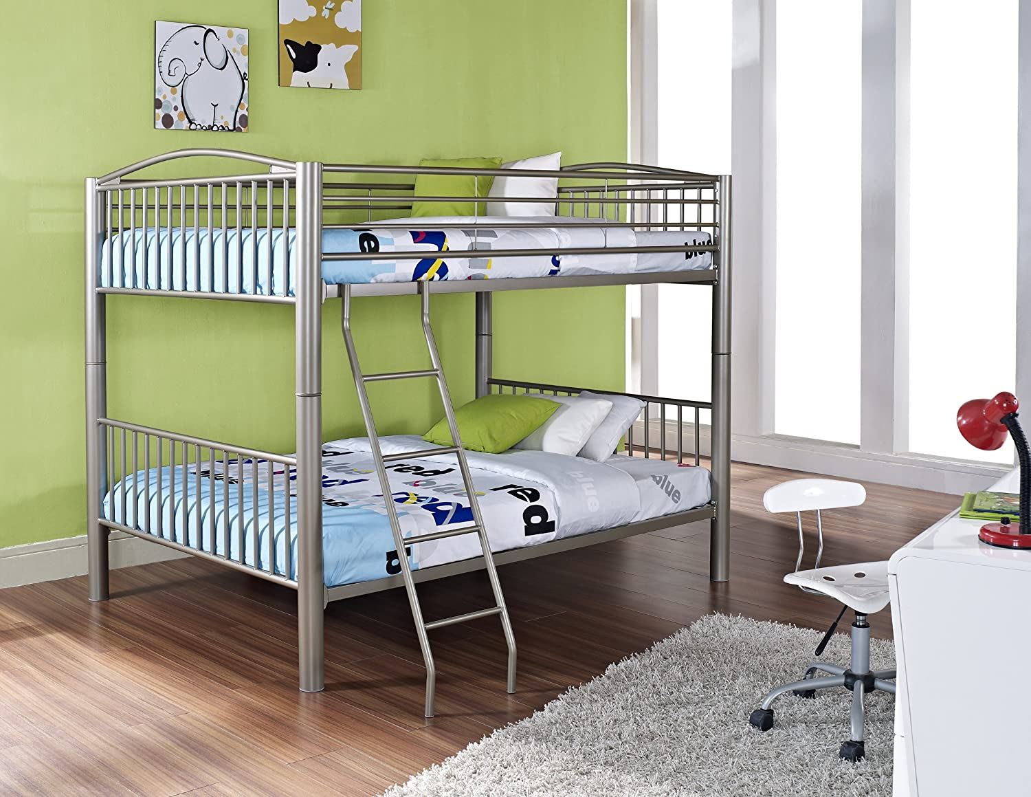 amazoncom powell heavy metal pewter full over full bunk bed kitchen u0026 dining